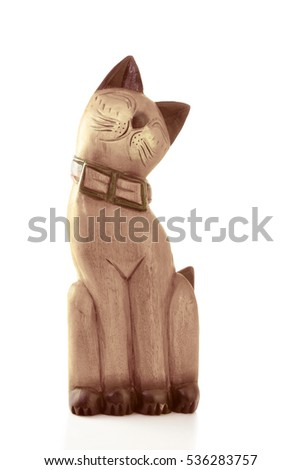 Wooden Cat Doll vintage tone on white background
