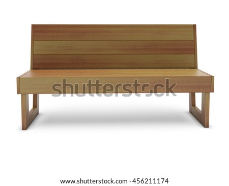 Wooden cedar bench on the white 3D rendering