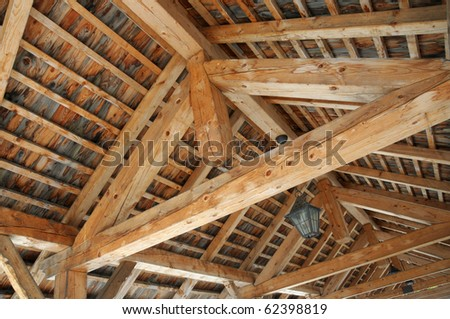Wooden ceiling - stock photo