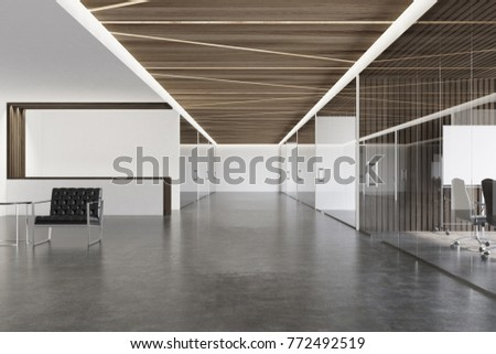 Wooden Ceiling Office Lobby With White And Walls A Concrete Floor Glass Doors