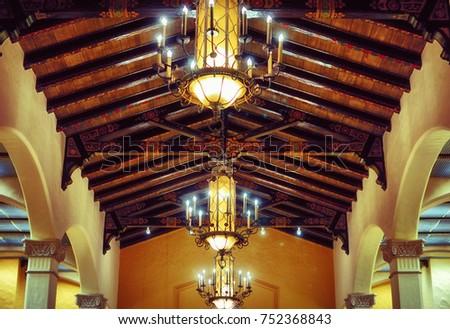 Wooden Ceiling With Truss And Lights