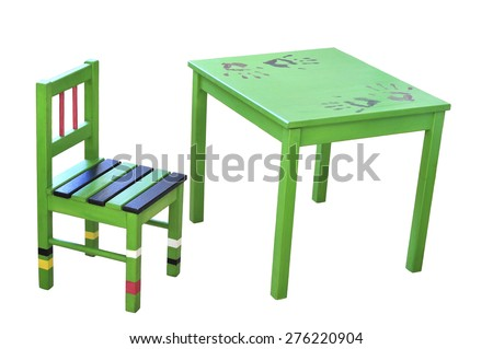 Wooden chair and table for child green. Painted with his hands.