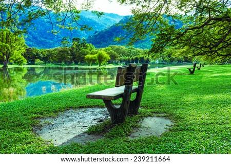 wooden chair at lake garden at taiping malaysia - stock photo