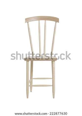 wooden chair isolated on white background - stock photo
