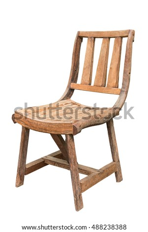 Wooden chair isolated on white background with clipping path