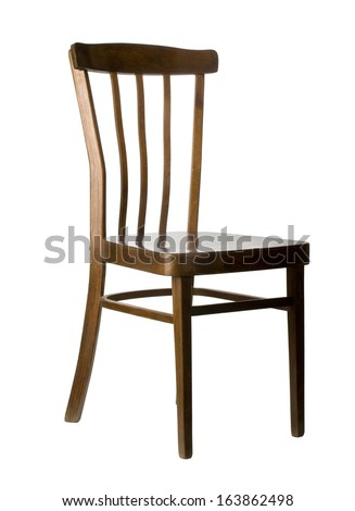 wooden chair isolated on white. with clipping path