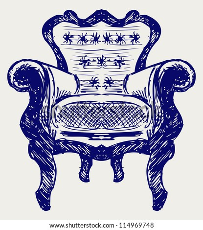 Wooden chair upholstered in leather. Doodle style. Raster version - stock photo