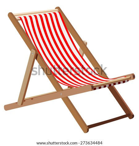 Wooden chaise lounge on a white background - stock photo