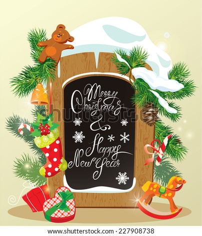 Wooden Chalkboard with handwritten calligraphic text Merry Christmas and Happy New Year. Gifts boxes, candy, toys and presents. Raster version - stock photo