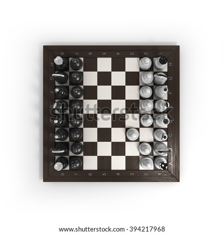 wooden chess arranged on a chessboard isolated on white - stock photo