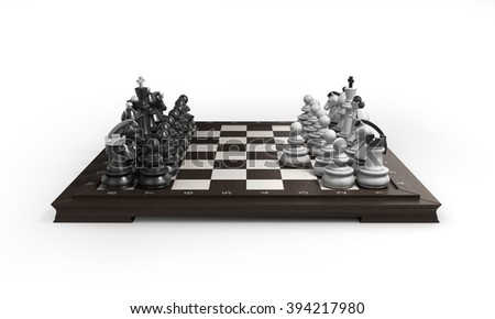 wooden chess arranged on a chessboard isolated on white background - stock photo