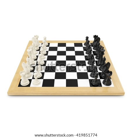 Wooden chess board with 3d black and white figures. 3d illustration - stock photo