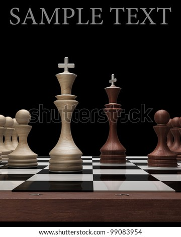 wooden Chess kings on black blackboard High resolution. 3D image - stock photo