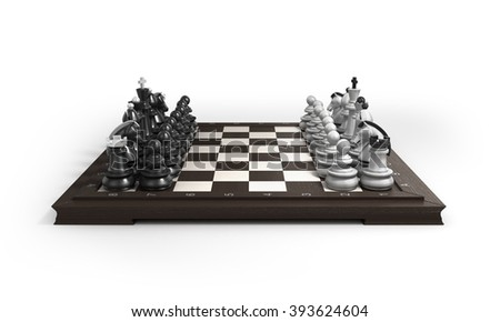 wooden chess laid in the original position on the chessboard isolated on white background - stock photo