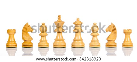 Wooden chess. Set of chess figures. Chess pieces isolated on  white background. - stock photo