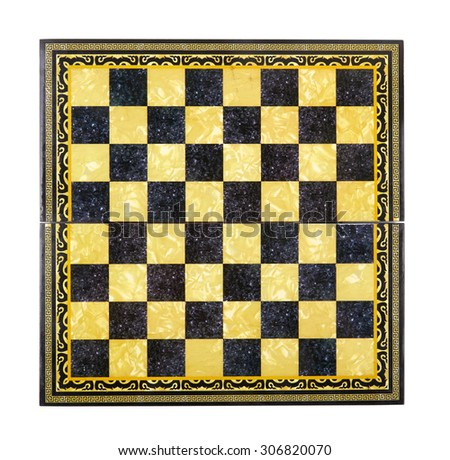 wooden chessboard isolated on a white background - stock photo
