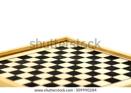 Wooden chessboard perspective view with copy space.