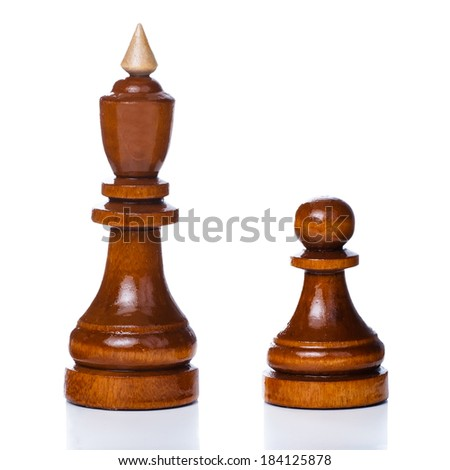 Wooden chessmen isolated on a white background. King and pawn chess pieces - stock photo