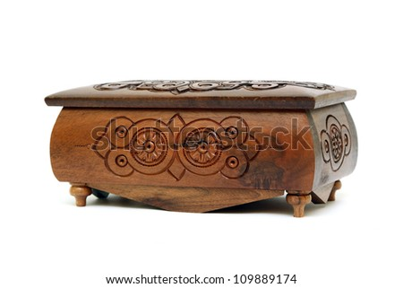 Wooden Chest isolated on White Background - stock photo