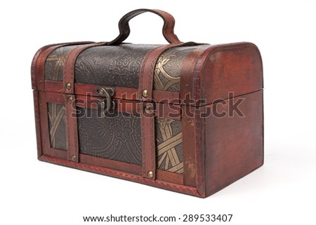 wooden chest on white background