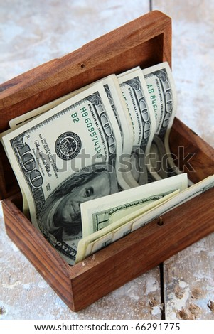 wooden chest with the U.S. dollar on the table