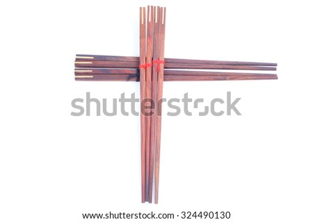 Wooden chinese sticks isolated on a white background