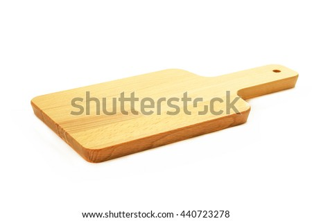Wooden chopping block for butcher isolated on white background