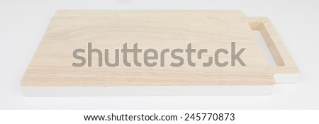 wooden chopping block in White background