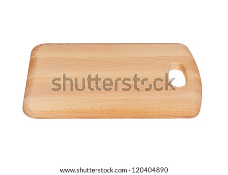 Wooden Chopping Board Block Isolated on White - stock photo