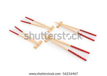 Wooden chopsticks isolated on the white background