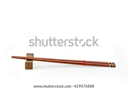 Wooden chopsticks isolated on white background,clipping path