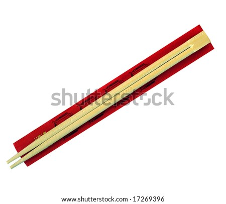 Wooden chopsticks used in asian (chinese, japanese, thai) cuisine instead of forks for picking up solid food