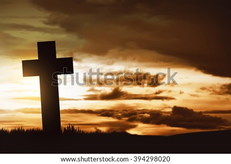 Wooden christian cross. Religious concept image