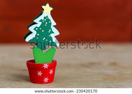 Wooden Christmas tree decoration - stock photo