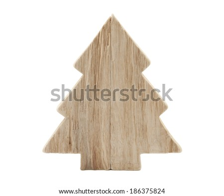 Wooden Christmas tree shape with clipping path - stock photo