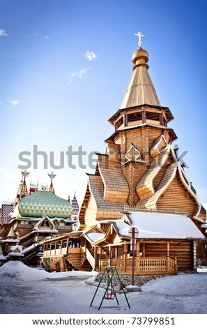 Wooden Church in Moscow, Izmailovo - stock photo