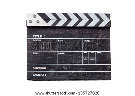 wooden clapper board isolated on white background - stock photo