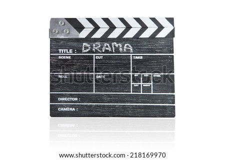 wooden clapper board on white background Title Drama