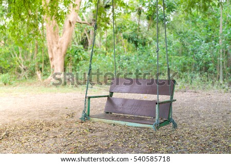 Wooden Classic Outdoor Hanging Patio Porch Swing Bench In The Garden. Swing  In The Park
