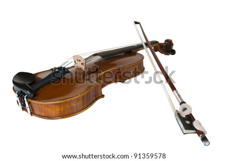 wooden classic violin prepared for children to learn playing this instrument - stock photo
