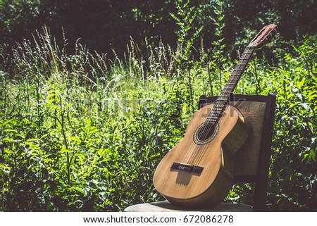 Wooden Classical Guitar Outside On Chair In Tall Grass