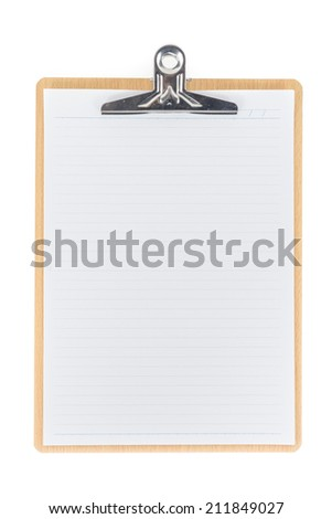Wooden Clipboard using for attach planning paper isolated on white background