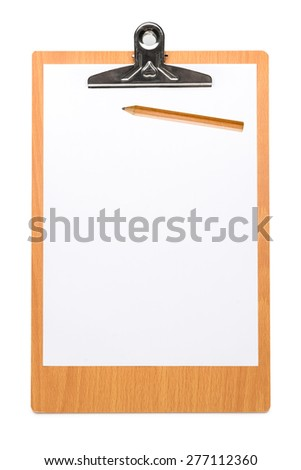 Wooden clipboard with blank paper sheet and pencil isolated on white background