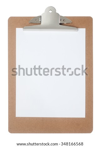Wooden clipboard with blank white paper
