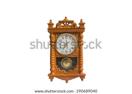 Wooden clock at 07.00 am/pm - stock photo