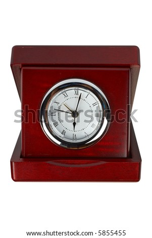 Wooden clock on white background