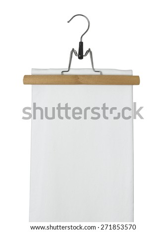 Wooden clothes hanger with white skirt