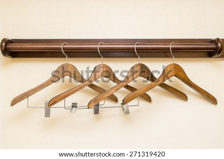 wooden clothes hangers - stock photo