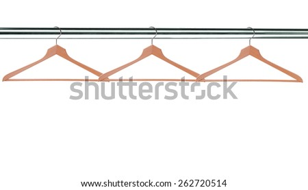 wooden clothes hangers isolated on white background - stock photo