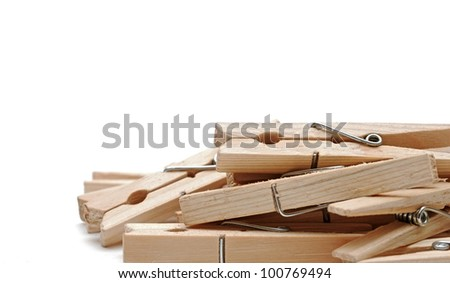 wooden clothes pin on a white background v